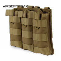 Tactical MOLLE Triple Open Top Magazine Pouch FAST AK AR M4 FAMAS Mag Military Pouch Outdoor