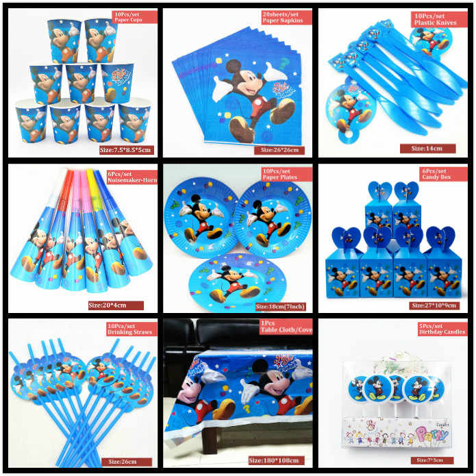 Mickey Mouse Party Favors Supplies Birthday Decorations Baby Kids Disposable Tablecloth Cups Plates Napkin Spoon Hats Party Gift
