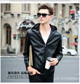 Autumn Men's PU Leather Jacket Hooded Fall Coat For Male Waterproof Outwear Coat Good Quality Plus Size 5X Brand Fashion Coffee