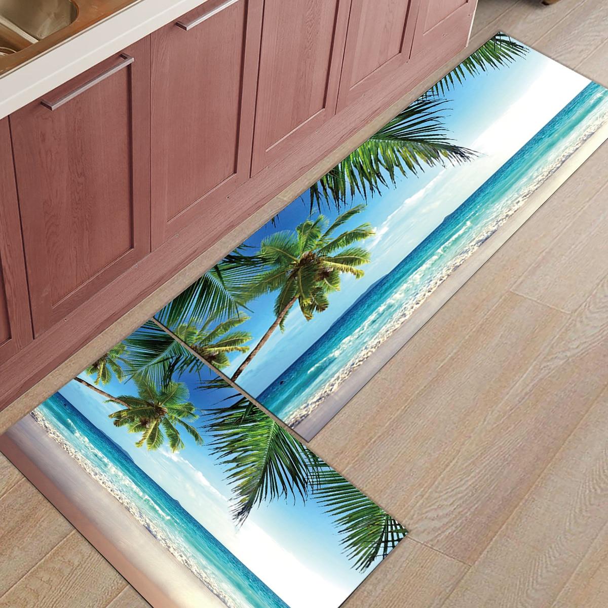 Beach Coconut Tree Wave Sky  Doormats For Entrance Way Bathroom Accessories Set Dirt Debris Mud Trapper Boot Shoes Scraper AreaBeach Coconut Tree Wave Sky  Doormats For Entrance Way Bathroom Accessories Set Dirt Debris Mud Trapper Boot Shoes Scraper Area
