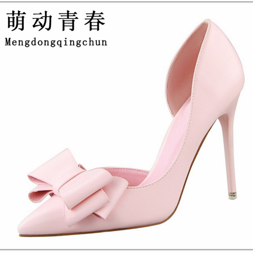 Women Pumps 2016 Sweet Bowknot High Heels Thin Purple Pink Heels Shoes Pointed Toe Stiletto Elegant Bowtie Wedding Shoes Zapatos 7 colors new sexy women pumps shoes high heels tacon alto bride wedding zapatos mujer pointed toe sweet bowtie women shoes