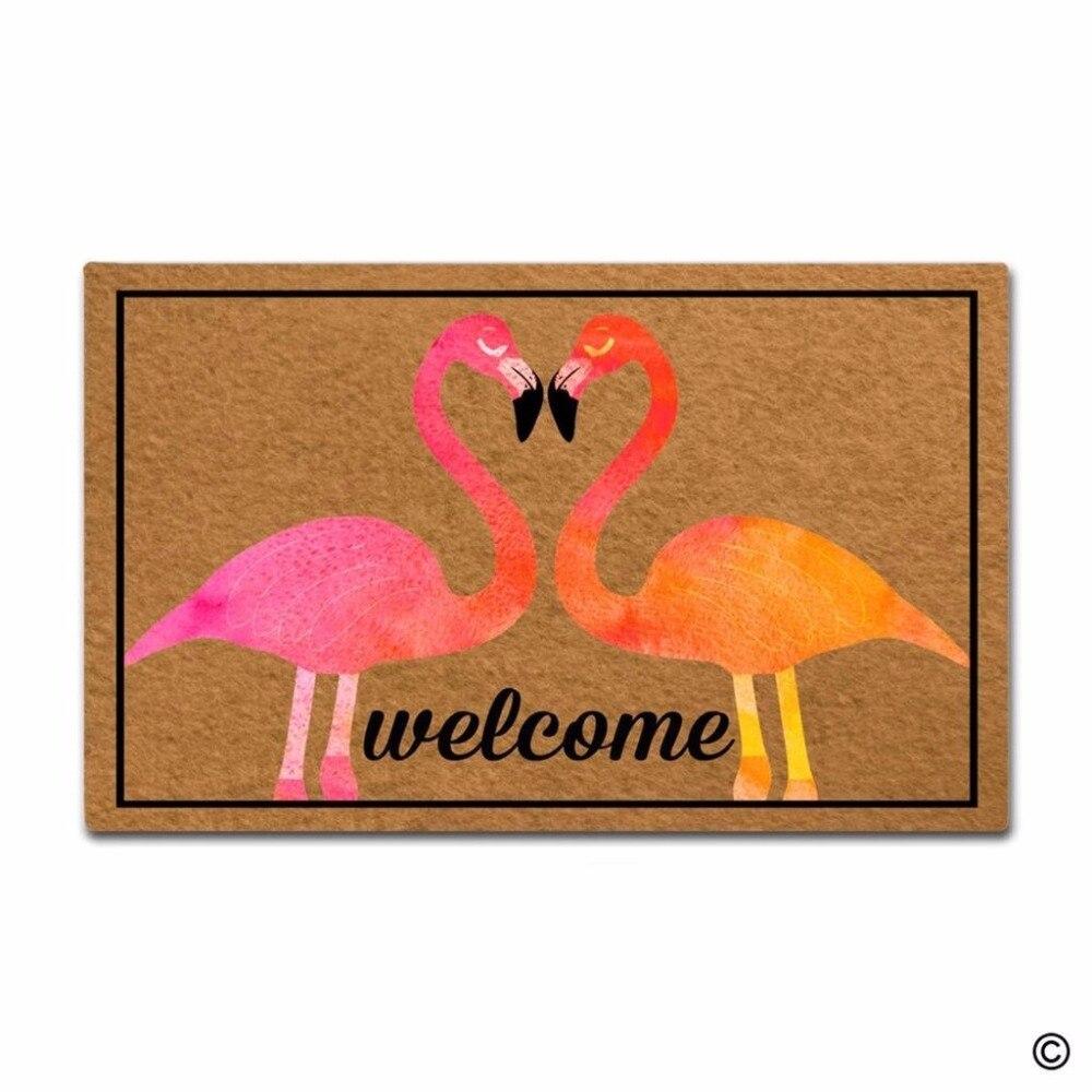 Non-slip DoormatEntrance Floor Mat Flamingo Birds Love Heart Welcome Creative Designed Door Mat Indoor Outdoor Decorative DoormaNon-slip DoormatEntrance Floor Mat Flamingo Birds Love Heart Welcome Creative Designed Door Mat Indoor Outdoor Decorative Doorma