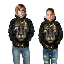 2019 Spring Childrens Print Lion Head Hooded Sweater Boys Jacket Girls Hoody Clothes Long Sleeve Sports Baseball Uniform
