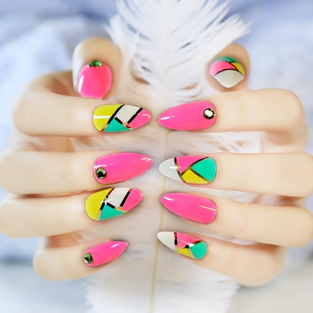 Full Cover False Finger Nails Fake Pointed Art Decor Triangle Mix Bright Pink Green Yellow