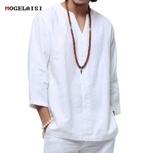 Image 1 - 中国風のリネンシャツプラスサイズ 4XL/5XL 男性カジュアル通気性白ソフト構図シャツカミーサ masculina TX55