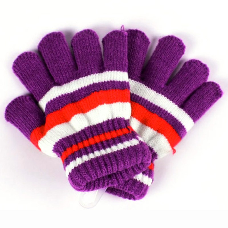 Baby Gloves Striped Cotton Winter Warm Mitten Knitted Full Finger Children Gloves Colorful Kids Boys Girls