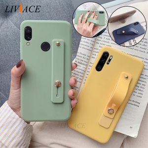 Wrist Strap Hand Band silicone case for huawei p30 p20 lite pro p8 p9 p10 p smart plus 2017 2018 2019 holder stand soft cover(China)