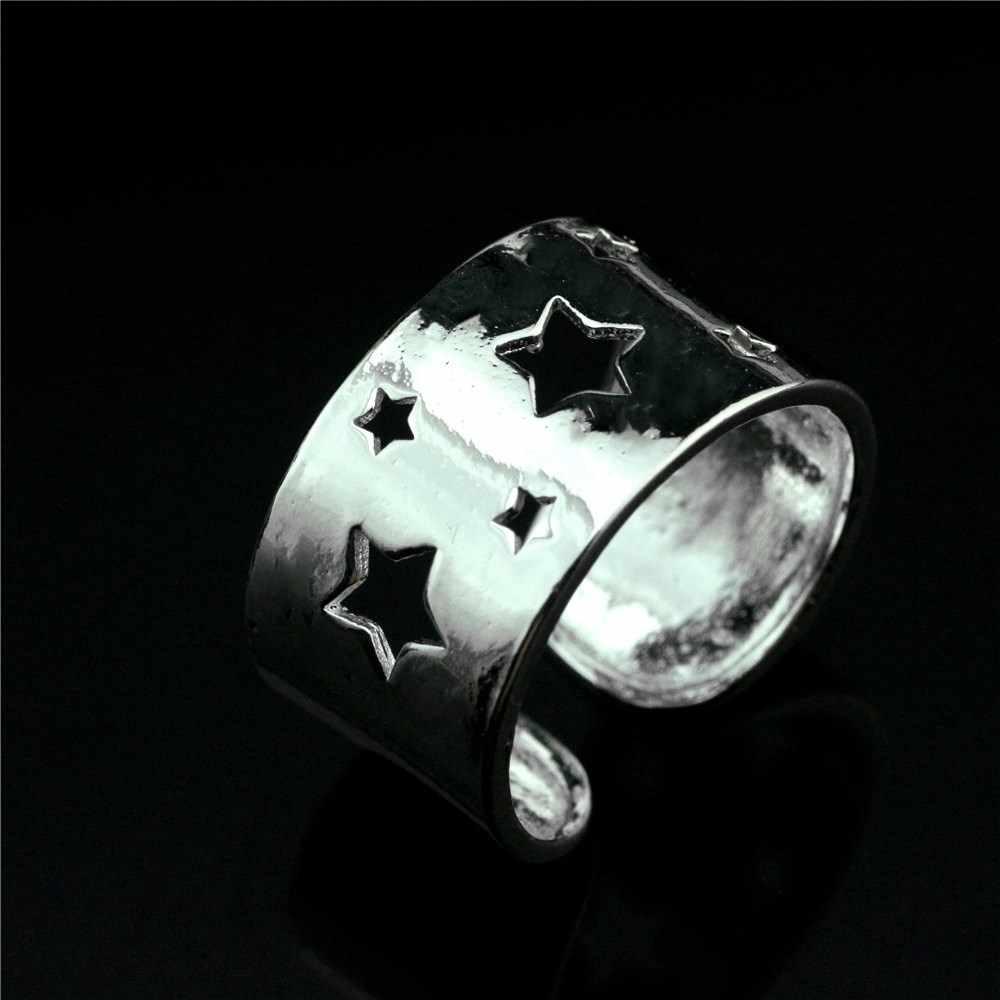 925 סטרלינג כסף פתוח טבעת חלול כוכב טבעת טבעת פופולרי קוריאני גרסה של פשוט טבעת גברים ונשים