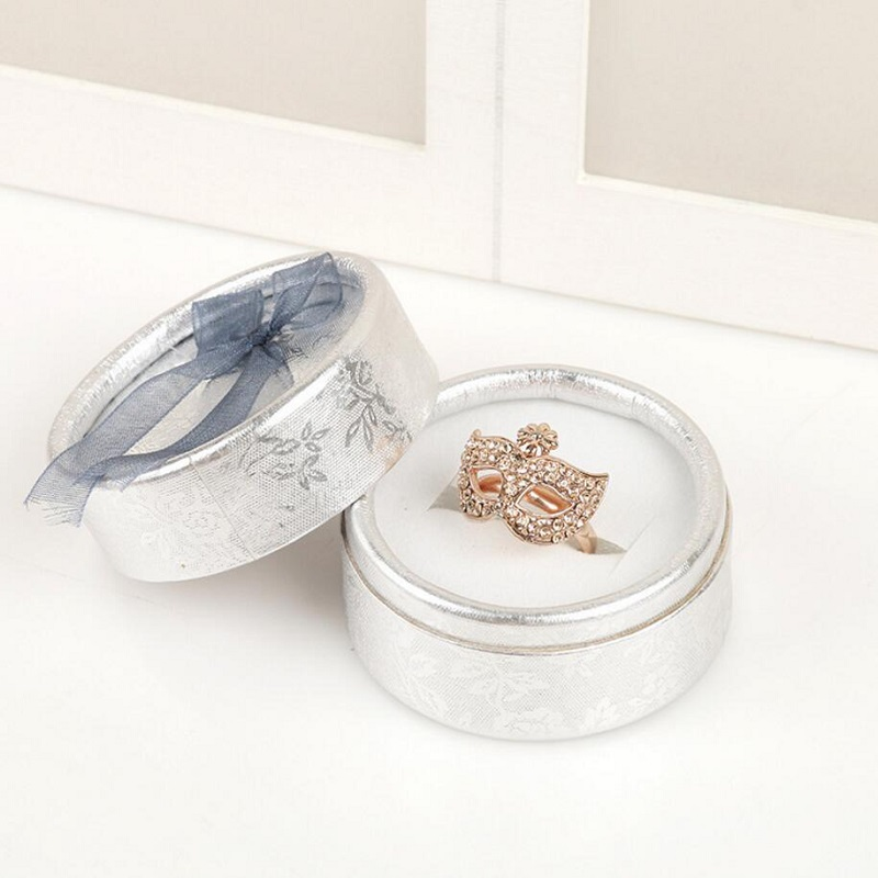 Jewery Organizer Box Rings/Earrings Storage Small Gift Box DIY craft Display Case Package Wedding/etc round paper bowknot wh