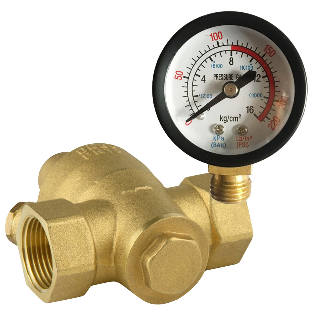 3/4 Connector Water Pressure Regulator Reliable Brass with Gauge Flow DN20 Adjustable Pressure Reducing Valves