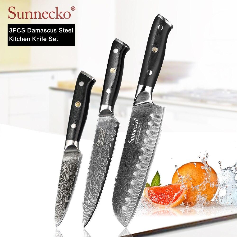SUNNECKO 3 PEÇAS Conjunto Facas de Cozinha Damasco Utilitário Faca Santoku Japonês VG10 G10 Punho de Aço Afiada de Carne de Corte de Frutas