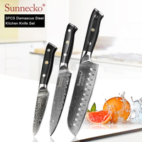 SUNNECKO 3PCS Damascus Kitchen Knives Set Santoku Utility Paring Knife Japanese VG10 Steel G10 Handle Sharp Meat Fruit Cutting