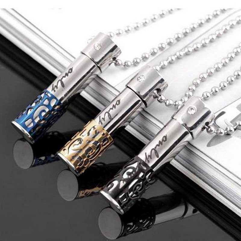 1 pcs Fashion jewelry Stainless Steel Pill Ash Holder Perfume Box Memorial Cremation Urn Pendant Necklace