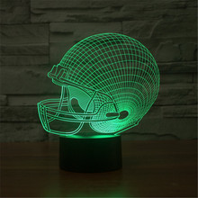 Hot USB Acrylic Colorful 3D Football Caps Nightlight Household Bedroom Office LED Table Lamp Child Christmas Gift 3D-TD58