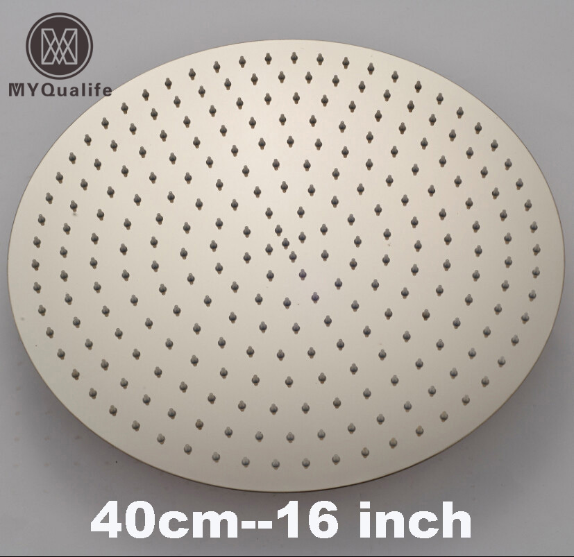 Polished Chrome 16 Rain Brass Shower Head Ultrathin Style Bathroom Top Showerhead Round Shape free shipping wholesale and retail solid brass bathroom rain shower head chrome finished showerhead
