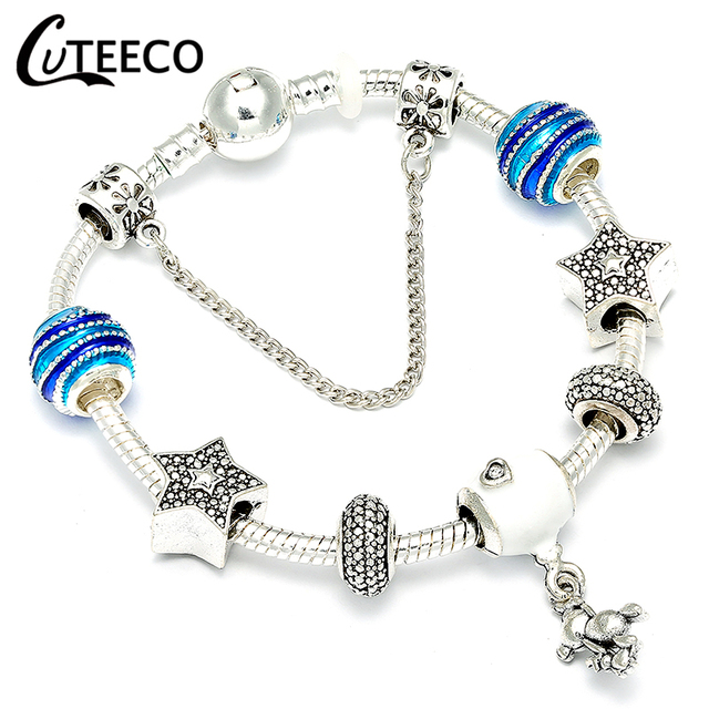 Cuteeco Silver Plated Chain Charm Bracelets 2018 New Style Teddy Bear Pendant Brand Bracelet For Women