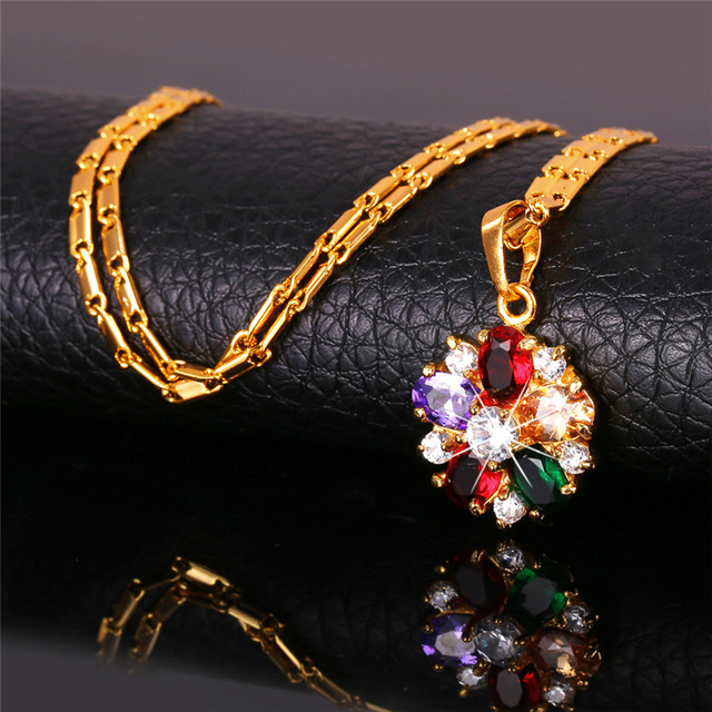 U7 Cubic Zirconia Indian Jewelry Sets For Women Gold Plated Flower Colorful Crystal Earrings Necklace Set Women S680