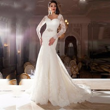 XGGandXRR Long Sleeves Mermaid Wedding Dresses Sweep Train