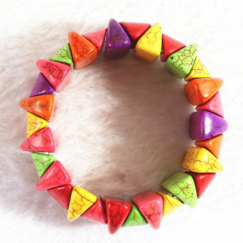 """ГОРЯЧИЕ Разноцветные бирюзовые бирюзовые камешки 28x24 мм Модные браслеты DIY для женщин и мужчин 7,5 """"B309"""