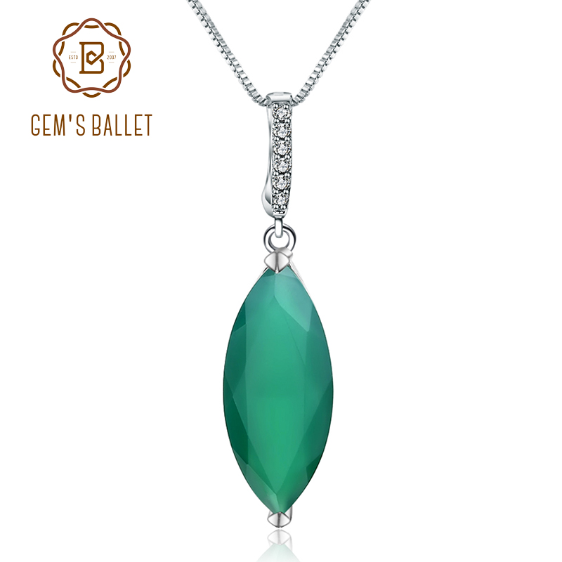Gem's Ballet 11.45Ct Marquise Natural Green Agate 925 Sterling Silver Gemstone Necklaces & Pendants For Women Fine Jewelry