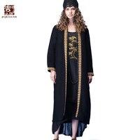 JIQIUGUER весна тонкие кардиганы Для женщин блузки Топы Винтаж вышивка свободные длинные кимоно кардиган, большие размеры пальто OutwearG171Y018