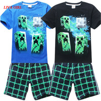 Child Boys Summer Black Navy Blue Cotton T Shirt And Pants Minecraft Halloween Costume Clothes For