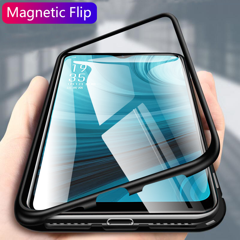 new arrival afbf7 530fc magnetic flip case for OPPO A7 case cover clear tempered glass back cover  metal frame protective coque