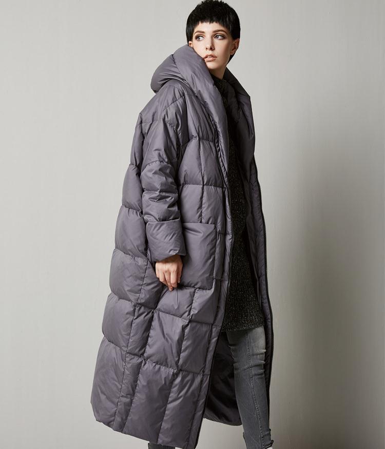 6381135dddb Новое поступление Зима 2018 Женский Повседневный свободный стиль пальто  толще длинный с капюшоном утиный пух куртка