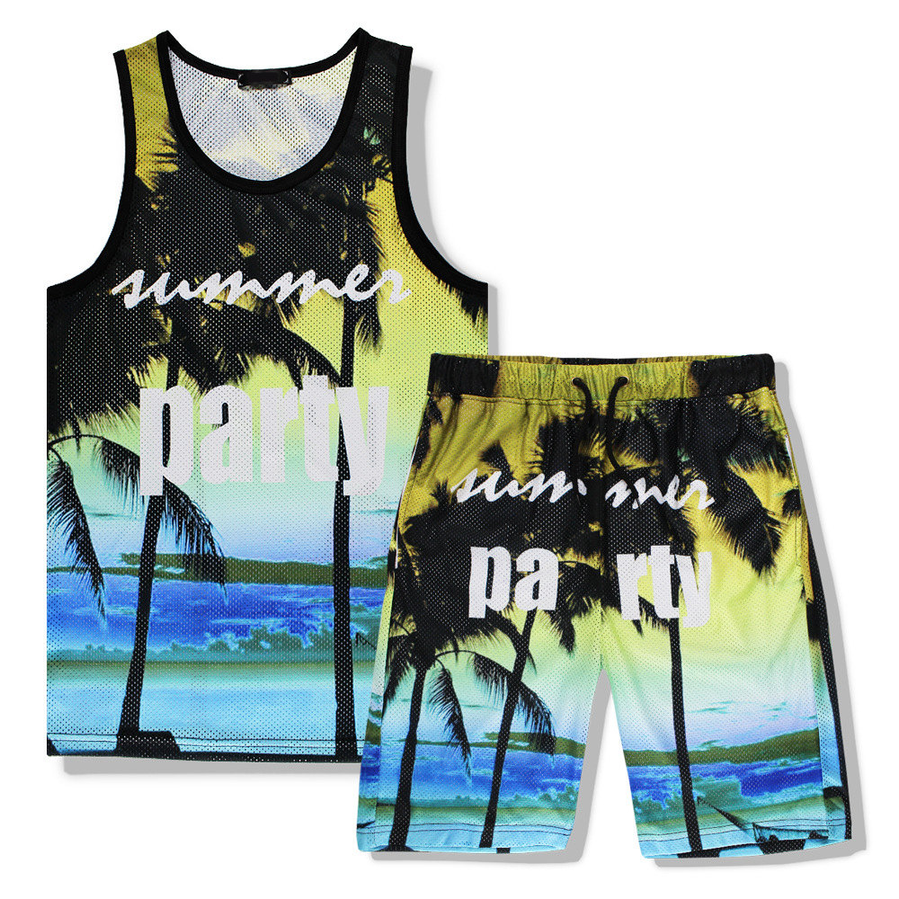 Tracksuit Set Summer 3D Print Sea Beach Party Casual Tank Top Sets Sleeveles T Shirt+Shorts Mens Fitness Clothing Vest Set R2385