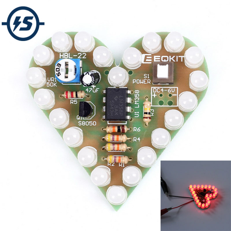 Electronic Components & Supplies 100% Quality Diy Kit Heart Shape Breathing Lamp Kit Dc 4v-6v Breathing Led Suite Red White Blue Green Diy Electronic Production For Learning 100% Original