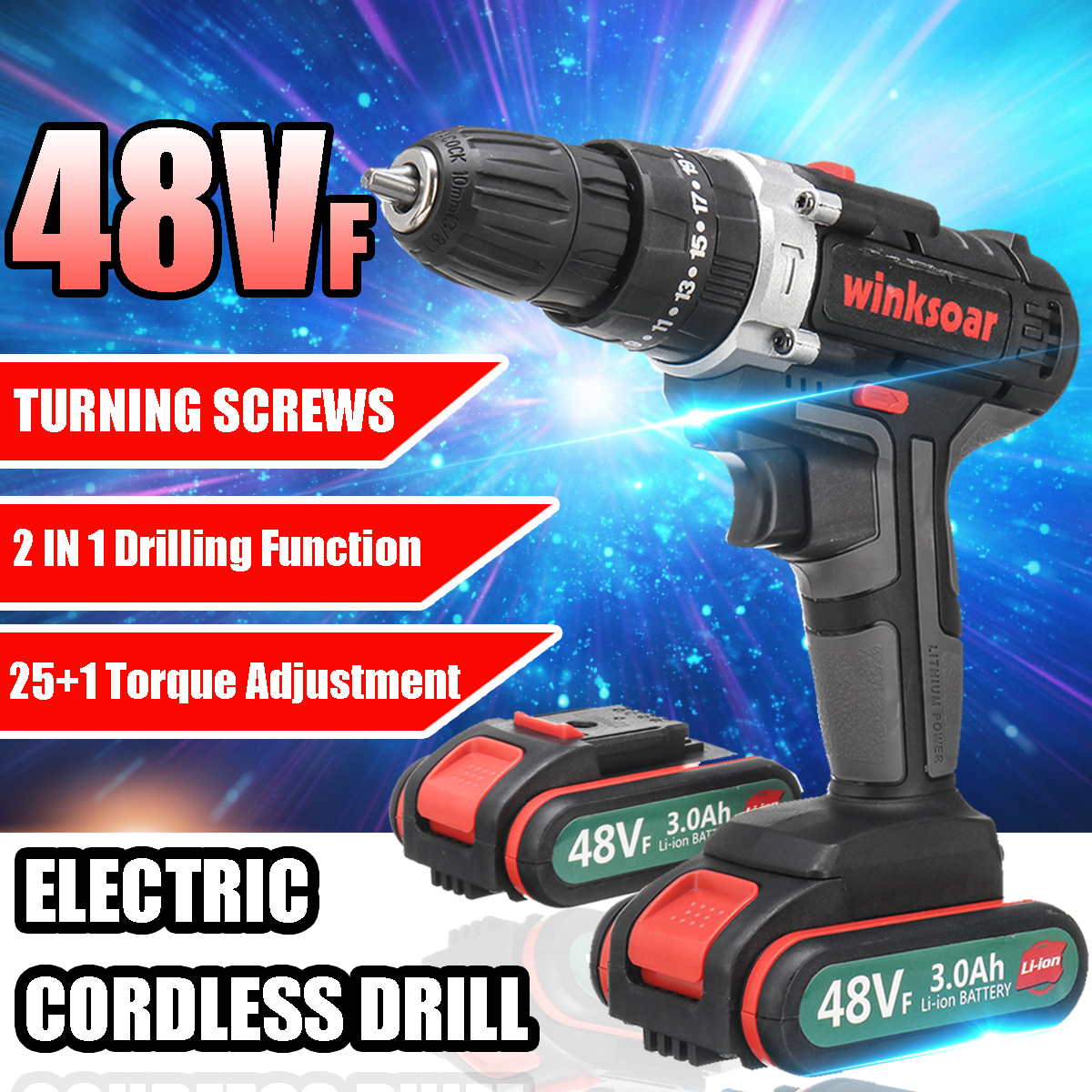48VF Cordless Brushless Electric Screwdriver Impact Drill 2-Speed 25+1 Torque Rechargeable Li-ion Battery Power Tools Waterproof48VF Cordless Brushless Electric Screwdriver Impact Drill 2-Speed 25+1 Torque Rechargeable Li-ion Battery Power Tools Waterproof