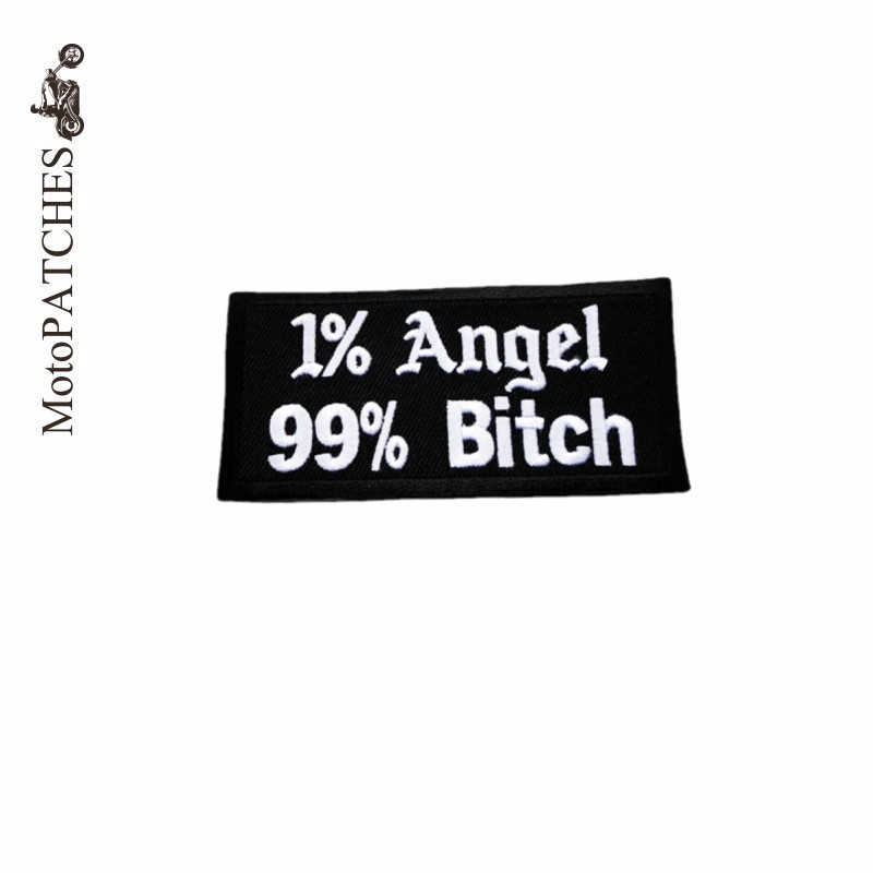 MotoPATCHES 1% Angel 99% Bitch Embroidered Iron on Patches For Clothing Motorcycle Jacket Biker Vest Patches