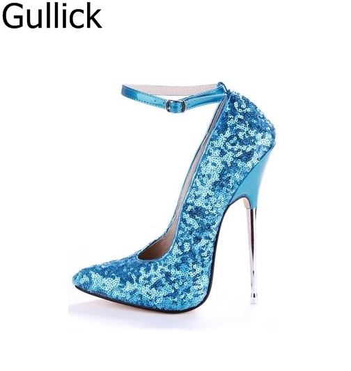 Hottest Selling Women Bling Bling Pointed Toe Ankle Buckle Strap Pumps Summer Fashion 16cm High Metal Heel Party Shoes Free Ship цена