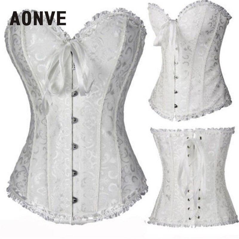 cb980a316d Aonve Women Corset Sexy Plus size Waist Korse Satin Overbust Lace Wedding  Embroidery Korset Bustier Top