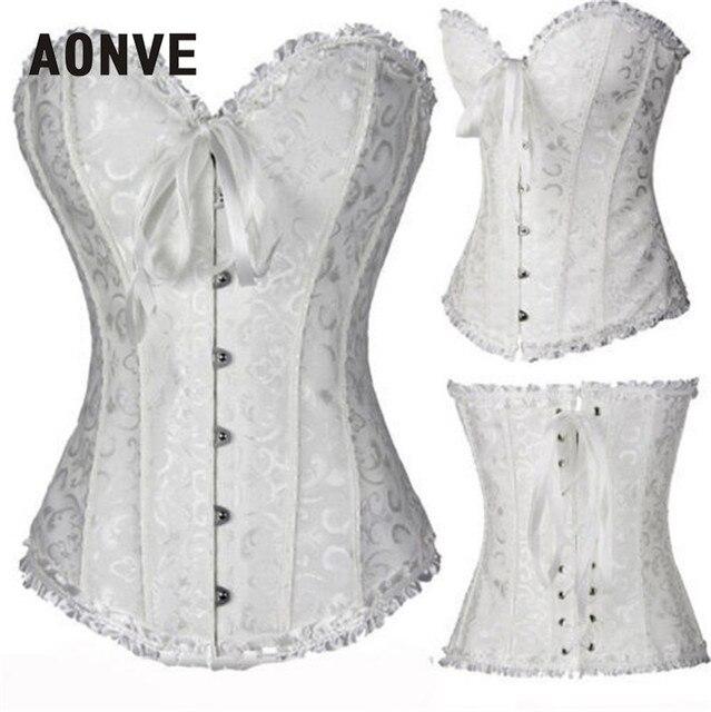 526471d3d15 Aonve Women Corset Sexy Plus size Waist Korse Satin Overbust Lace Wedding  Embroidery Korset Bustier Top Lingerie S-6XL