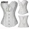 Sexy Plus size Waist  Satin Overbust Lace Wedding Embroidery Corset Bustier Top with G string Set Lingerie S-6XL