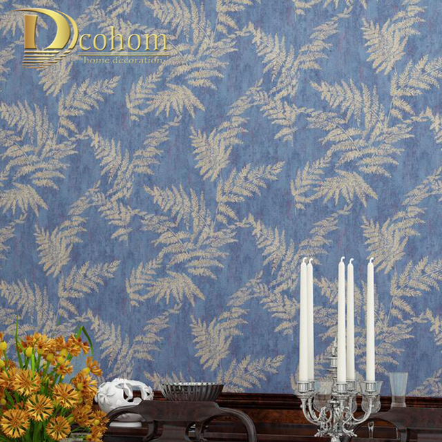 Vintage Palm Leaves Wallpaper Southeast Asia Style Embossed Non Woven Wallpapers For Living Room Bedroom Decor