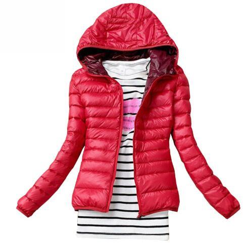 Jaqueta de inverno feminina de algodão para baixo parka com capuz casaco feminino casual fino para baixo & parkas sólido básico feminino casaco de manga longa