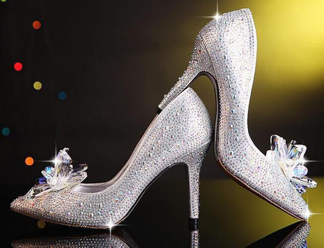ФОТО w-free shipping2015 star luxury bride wedding shoes women high heel girls vogue sexy rhinestone crystal pumps pointed toe silver