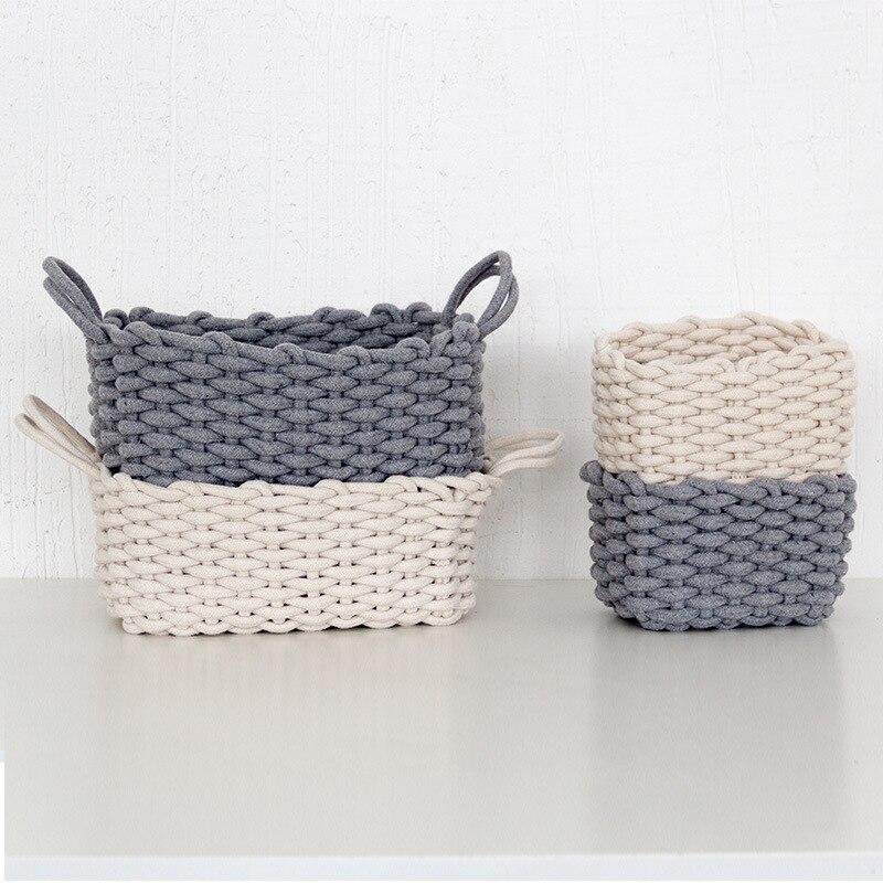 Storage Basket Desktop Small Organizer Box Linen Crotch Storage Basket Handmade Clothes Laundry Basket Natural Fabric Baby Toys