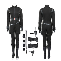Black Widow Cosplay Costume Captain America The Winter Soldier Natasha Romanoff Black Leather Jumpsuit For Halloween Women