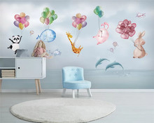 beibehang papel de parede Custom children's room hand-painted panda balloon dolphin airship background wallpaper papier peint(China)