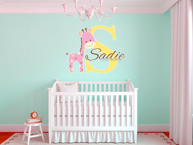 Baby Giraffe Custom Name Wall Stickers Decal For S And Boys Room Decoration Removable Wallpaper
