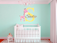 Baby Giraffe Custom Name Wall Stickers Wall Decal For Girls And Boys Room Decoration Removable Wallpaper