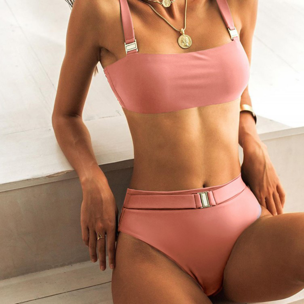 ZTVitality Sexy Push Up Bikini 2020 New Arrival Solid Padded Bra Buckle Belt Bikinis High Waist Swimsuit Swimwear Women Biquini 2