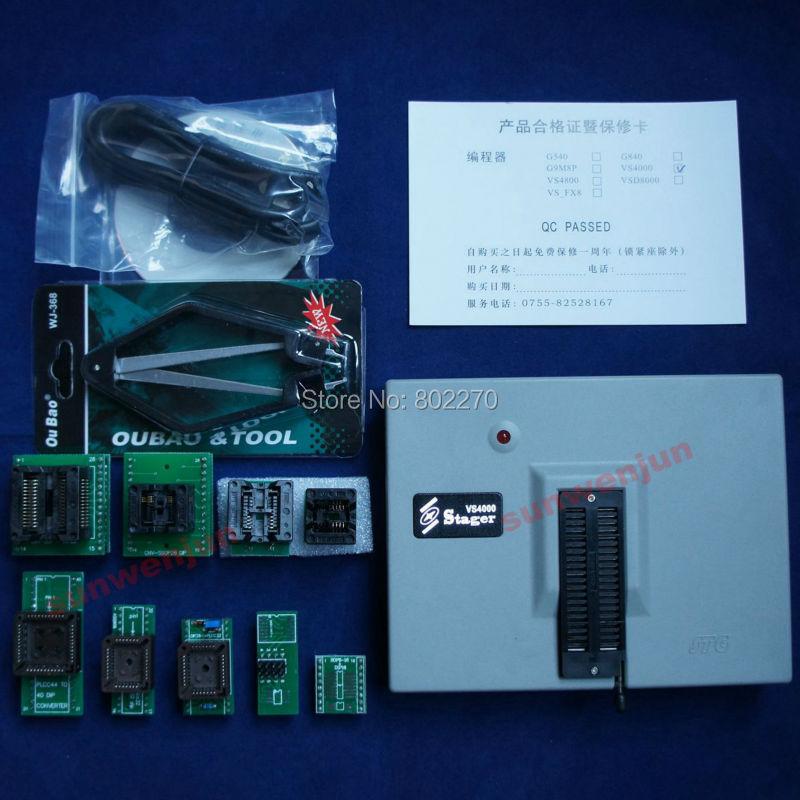 VSpeed VS4000 USB EEPROM SPI FLASH 51 AVR PIC GAL Universal Programmer+9 adapter free shipping new vspeed vs4000 high performance usb universal programmer support 40 pins 15000 ic for eeprom flash mcu pld