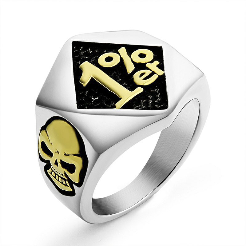 Valily Men's 1%ER Vintage Ring Stainless Steel Punk Skull Golden Ring Motorcycle Biker Style Rings for Men ,US Ring size 7--14