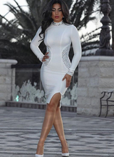 High Quality White Black Long Sleeve Beading Knee Length Rayon Bandage Dress Evening Party Bodycon Dress цена 2017