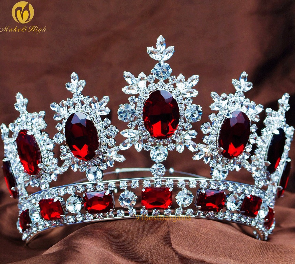 Princess Pageant Floral Tiaras Diadem Red Crystals Rhinestone Brides Crowns  Bridal Wedding Headband Prom Party Costumes 9afb6d1df373