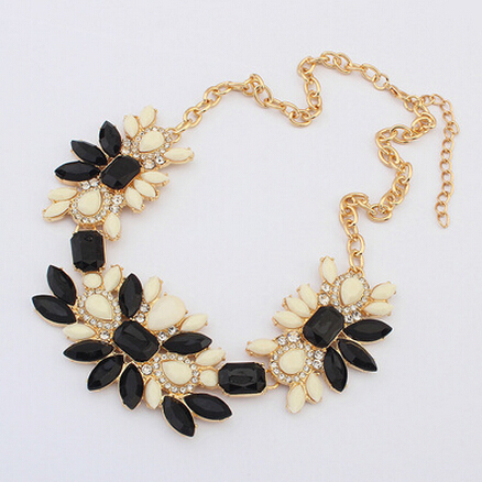 New Fashion Imitation Gemstone Colorful Necklaces Pendants Collares Chain Flower  Necklace for Women